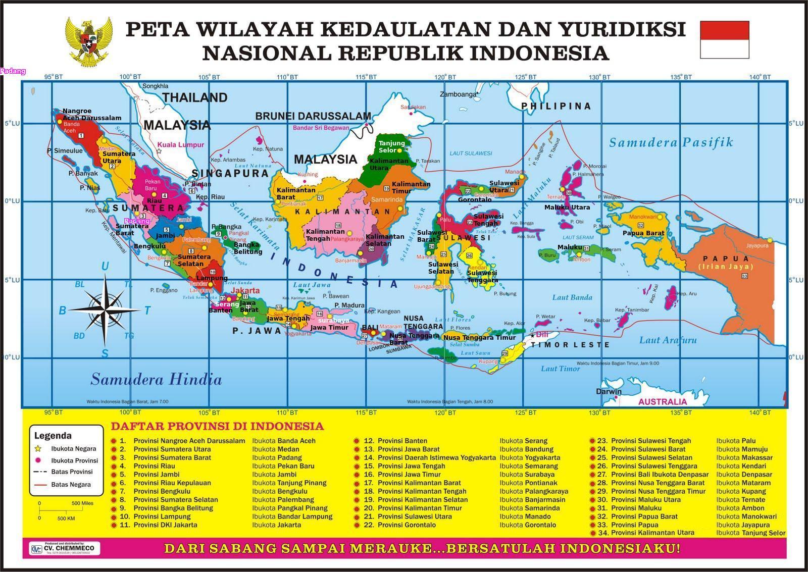 Inilah Peta Indonesia dengan 34 Propinsi. Ada tambahan propinsi baru ...