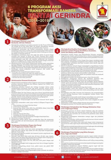 6 Program Aksi Transformasi Bangsa Partai Gerindra