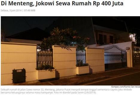 Sewa Rumah Jokowi