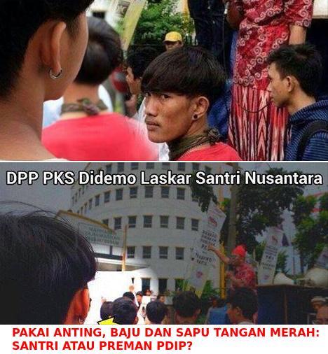 Kepung Kantor PKS pakai anting dan baju merah. Santri atau preman PDIP?