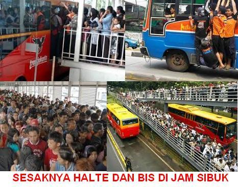 Sesaknya Halte dan Bis di Jam Sibuk