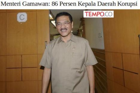 Gamawan Kepala Daerah Korupsi