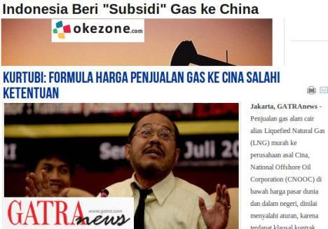 Subsidi Gas ke CIna