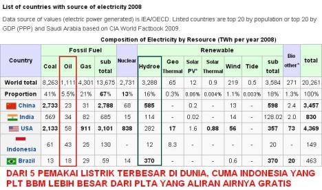 Sumber Listrik Indonesia BBM Lebih Besar dari PLTA
