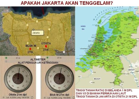 Peta Ketinggian Tanah Jakarta dan Belanda